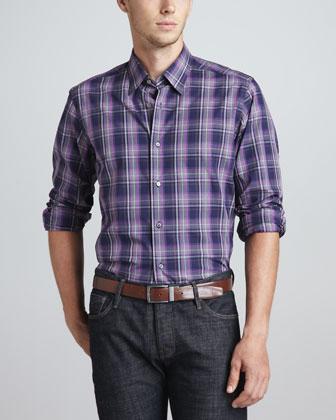 Long-Sleeve Sport Shirt, Navy/Purple