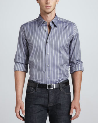 Long-Sleeve Sport Shirt, Navy/White Herringbone Stripe