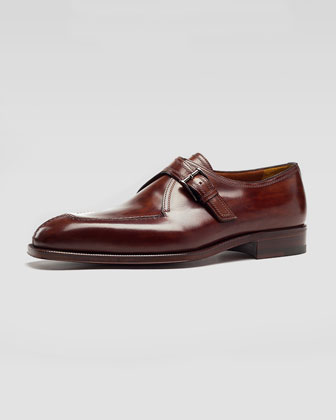 Monk-Strap Topstitched Shoe