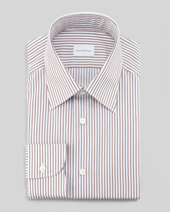 Shadow-Pinstriped Dress Shirt, Brown
