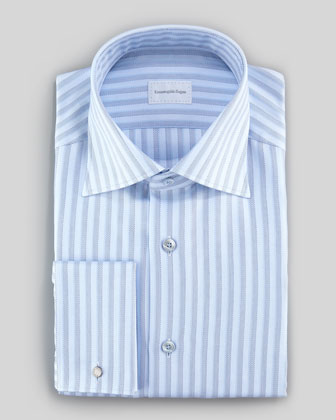 Dotted Stripe Dress Shirt, Light Blue