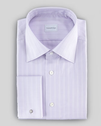 Tonal Herringbone Striped Dress Shirt, Lavender