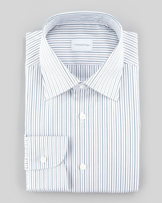 Alternating Stripe Dress Shirt, Gray/White