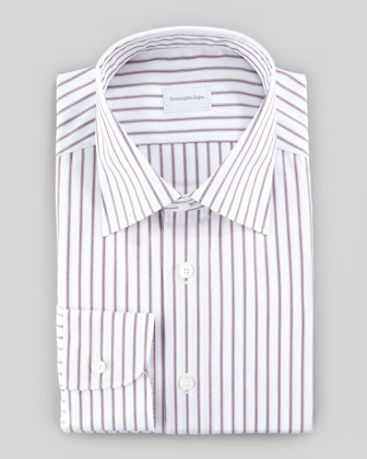 Striped Dress Shirt, Burgundy/White