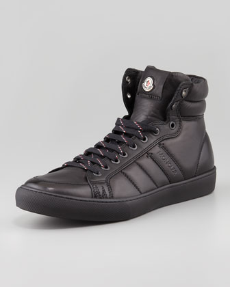 Lyon Leather High-Top Sneaker, Black