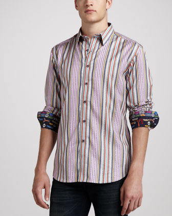 Perth Multi-Striped Woven Sport Shirt