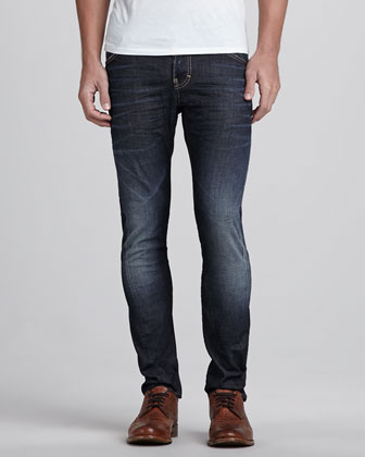 Five-Pocket Clean Wash Jeans, Navy