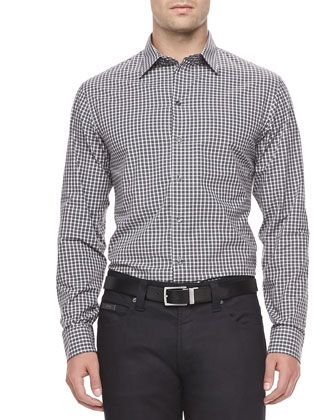 Check Sport Shirt, Gray/White