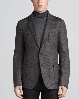 Chevron Wool Jacket, Charcoal/Brown