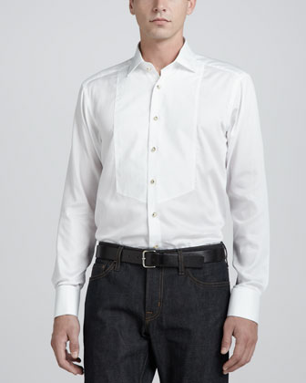 Paisley-Bib Tuxedo Shirt