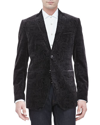 Velvet Paisley Evening Jacket, Black