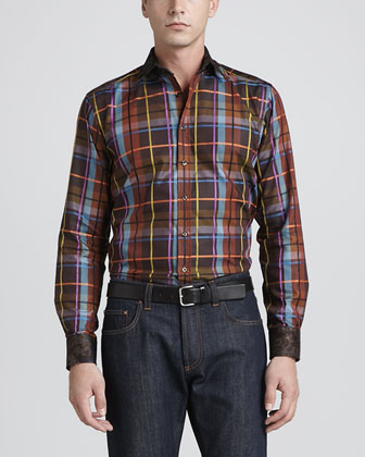 Plaid & Paisley Sport Shirt, Brown