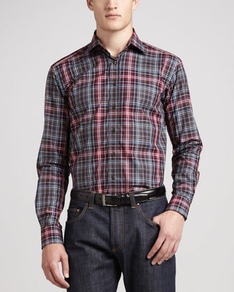 Plaid Sport Shirt, Wine