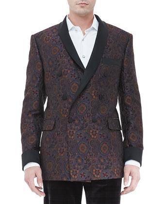 Double-Breasted Jacquard Evening Jacket, Multi