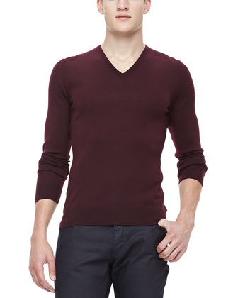 V-Neck Sweater, Burgundy
