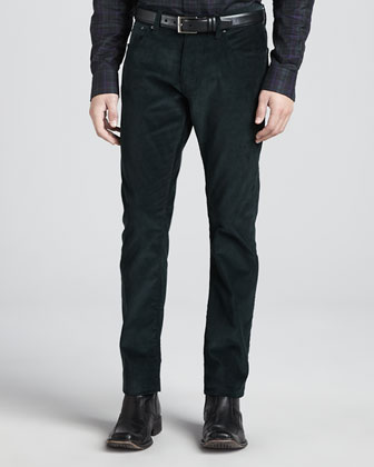 5-Pocket Corduroy Pants, Forest Green