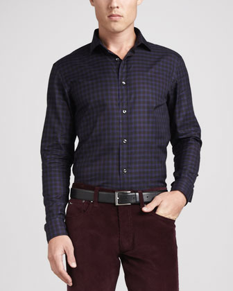 Small-Windowpane Sport Shirt, Blue