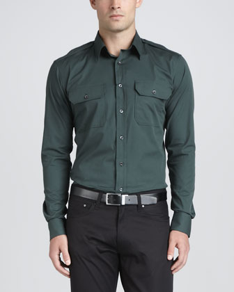 Military Long-Sleeve Shirt, Spruce