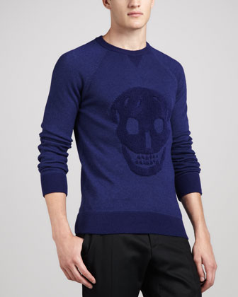 Textured Skull Sweater, Blue