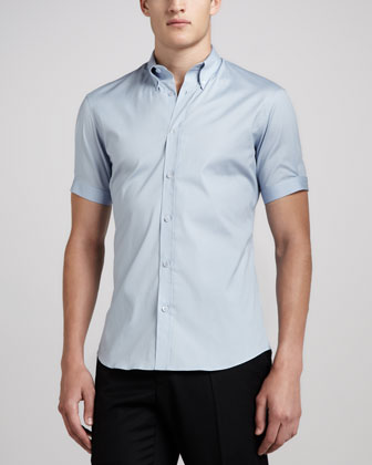Short-Sleeve Button-Down Shirt, Light Blue