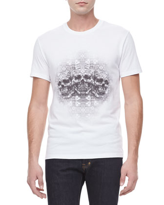 Three-Skull Graphic Tee, White