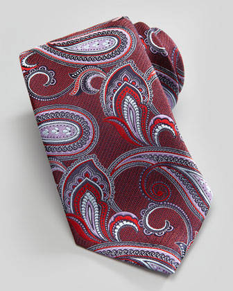 Large-Paisley Silk Tie, Red