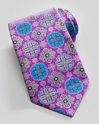 Mosaic Medallion Silk Tie, Purple