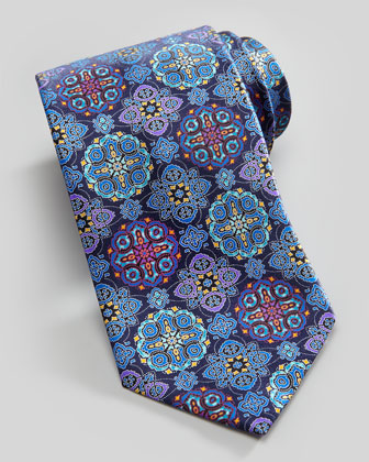 Mosaic Medallion Silk Tie, Navy