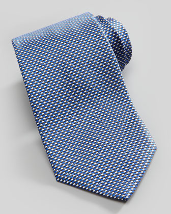 New Neat Silk Tie, Navy