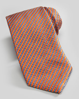 Stripe on Neat Silk Tie, Orange