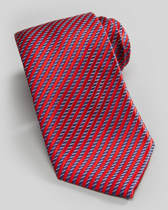 Stripe on Neat Silk Tie, Red