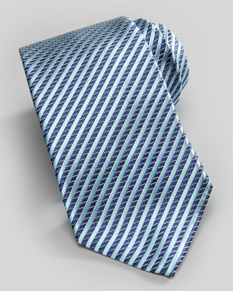 Stripe on Neat Silk Tie, Light Blue