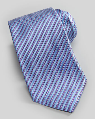 Stripe on Neat Silk Tie, Purple