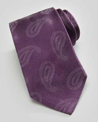 Paisley Pines on Dots Silk Tie, Violet