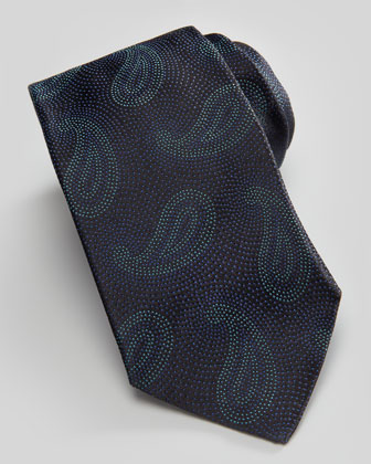 Paisley Pines on Dots Silk Tie, Navy