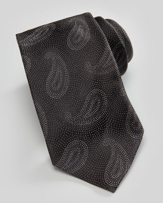 Paisley Pines on Dots Silk Tie, Black