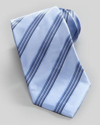 Shadow Stripe Silk Tie, Sea Blue