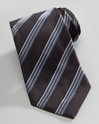 Shadow Stripe Silk Tie, Gray/Black