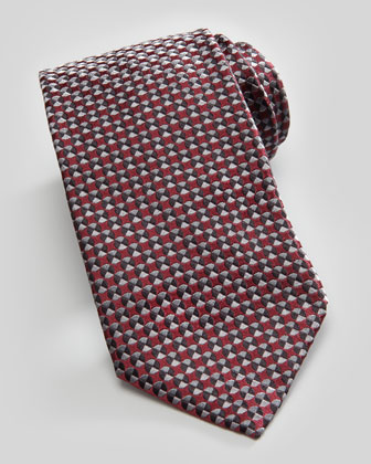 Textured Circle-Neat Silk Tie, Wine