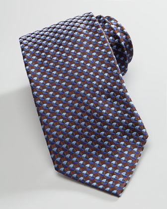 Textured Circle-Neat Silk Tie, Blue