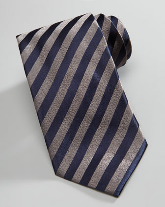 Striped Silk Tie, Dove Gray