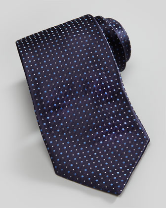 Mixed-Dot Silk Tie, Navy