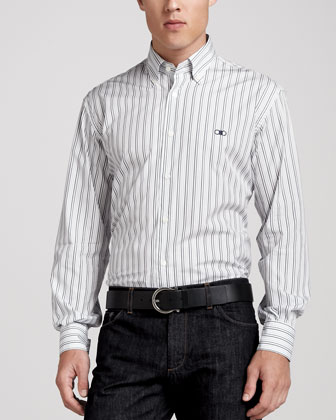 Striped Sport Shirt with Chest Logo