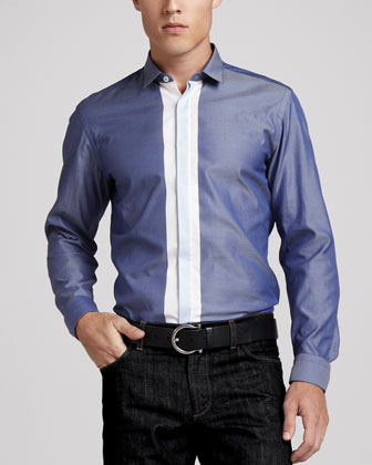 Placket-Stripe Sport Shirt, Blue