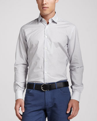 Geometric-Print Sport Shirt, White/Navy