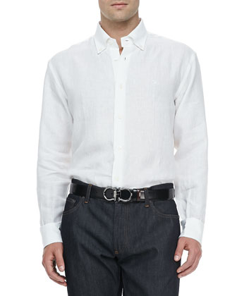 Cotton Button-Collar Sport Shirt, White