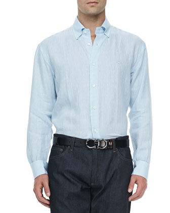 Cotton Button-Collar Sport Shirt, Light Blue