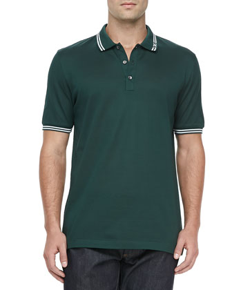 Tipped Short-Sleeve Polo, Green