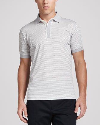 Fine-Striped Polo Shirt, Gray/White