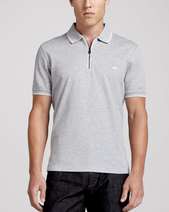 Zip Polo, Gray